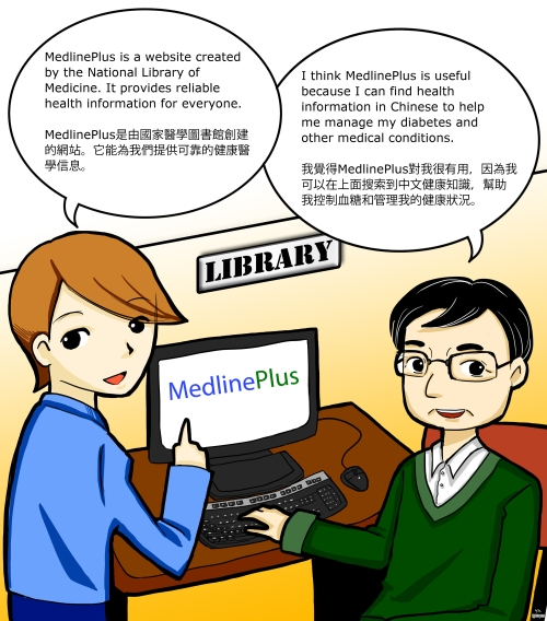 A librarian provides MedlinePlus instruction to a library user